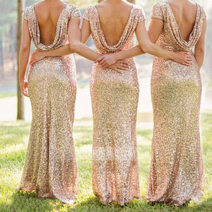 Elegant Gold Short Sleeves Floor-Length Sequin Bridesmaid Dresses Affordable Bridesmaid Dress