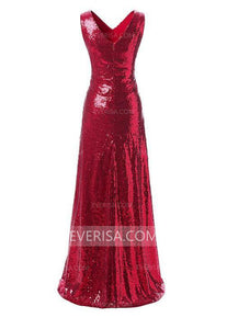 Charming Red V-Neck Sleeveless Floor-Length Sequins Prom Dress Cheap Evening Dress
