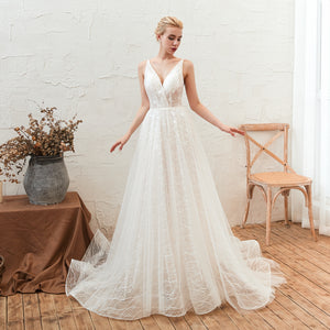 Sexy V Neck Backless A Line Lace Wedding Dresses Long Bridal Dress