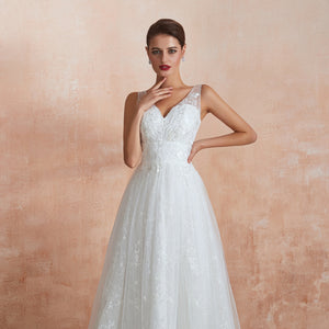 Simple V Neck Sleeveless Lace Wedding Dresses A Line Bridal Gown