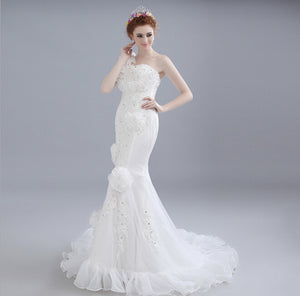 White One Shoulder Lace Appliques Wedding Dresses,Mermaid Bridal Gown - EVERISA