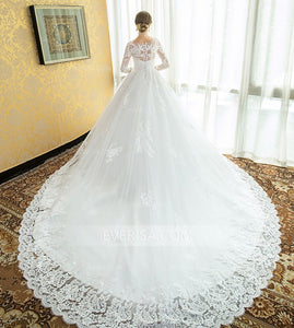 White Long Sleeves Lace Applique Wedding Dresses,A Line Bridal Dresses - EVERISA