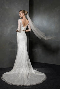 Two Pieces Half Sleeves Lace Wedding Dresses,Mermaid Bridal Dresses