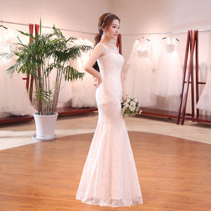 White Lace Applique Mermaid Wedding Dresses,Sleeveless Bridal Dresses - EVERISA