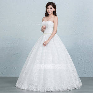 White Strapless Sleeveless Lace Wedding Dresses,A Line Bridal Dresses
