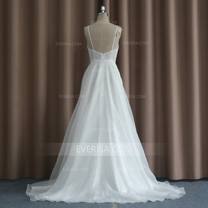 White V Neck Sleeveless Wedding Dresses,A Line Tulle Bridal Dresses