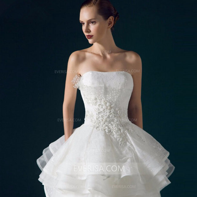 White Strapless Lace Appliques Wedding Dresses,Ruffles Bridal Gown