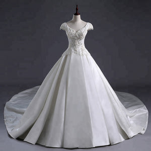 White Cap Sleeves Lace Beaded Wedding Dresses,A Line Satin Bridal Gown - EVERISA