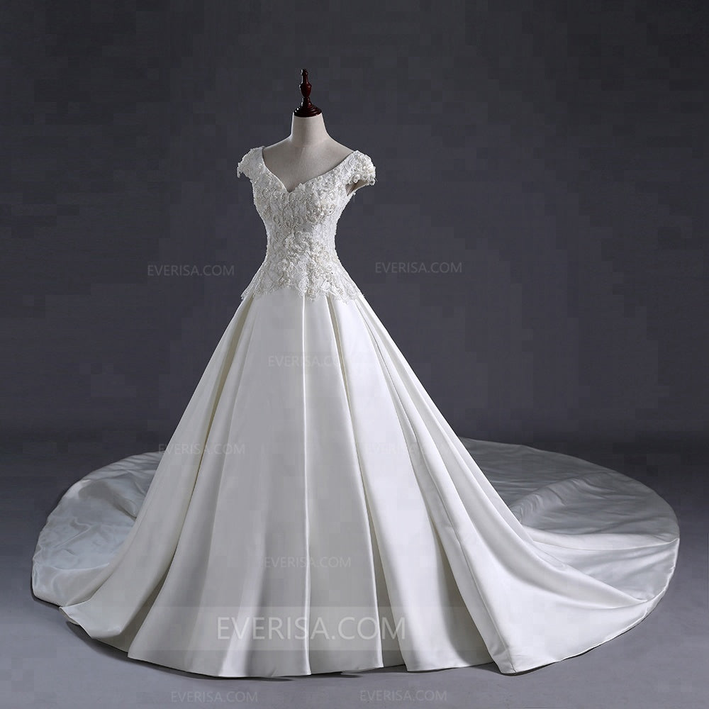 White Cap Sleeves Lace Beaded Wedding Dresses,A Line Satin Bridal Gown