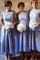 Elegant Light Sky Blue High Low Sleeveless Lace Prom Dress  Affordable Bridesmaid Dress - EVERISA