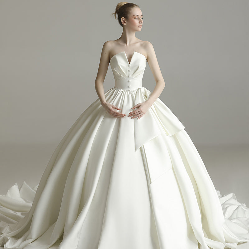 Simple Strapless Sleeveless Satin Wedding Dresses,A Line Bridal Gown ...