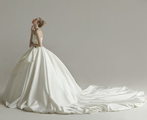 Simple Strapless Sleeveless Satin Wedding Dresses,A Line Bridal Gown - EVERISA