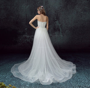 Sleeveless Strapless Lace Wedding Dresses,Removable Tail Bridal Gown - EVERISA