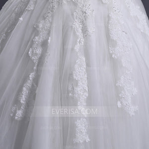 White Lace Applique Off Shoulder Wedding Dresses,Beaded Bridal Gown - EVERISA