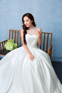 High Neck Sleeveless Beaded Wedding Dresses,A Line Satin Bridal Gown - EVERISA