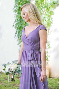 Sexy Purple V-Neck Cap Sleeves Chiffon Bridesmaid Dress Cheap Prom Dress - EVERISA
