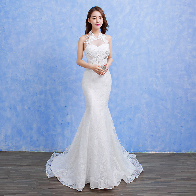 White Halter Lace Beaded Wedding Dresses Mermaid Bridal Dresses