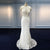 White Scoop Neck Sleeveless Wedding Dresses,Lace Beaded Bridal Dresses