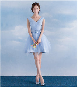 Blue Sweetheart Sleeveless A Line Short Tulle Bridesmaid Dresses - EVERISA
