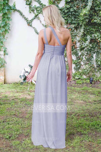 Elegant Lavender One Shoulder Backless Chiffon Bridesmaid Dress Long Prom Dress - EVERISA