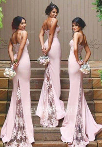 Elegant Pink Mermaid Empire Satin Prom Dress Inexpensive Evening Dress With Lace - EVERISA