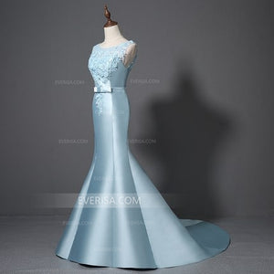 Blue Sleeveless Lace Applique Prom Dresses,Mermaid Graduation Dresses
