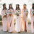 Pink V Neck Long Sleeves Side Slit Chiffon Bridesmaid Dresses