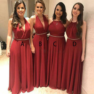 Burgundy Sleeveless Halter A Line Chiffon Cheap Bridesmaid Dresses