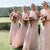 Pink Halter Sleeveless Backless Chiffon Long Bridesmaid Dresses