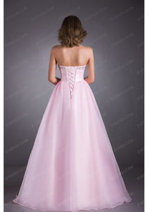 Sexy Pink Sweetheart Floor Length Tulle Prom Dresses Beaded Evening Dress