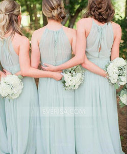 Elegant Light Green Scoop Neck Floor-Length Chiffon Bridesmaid Dress Prom Dresses With Ruffle Bow