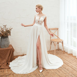 Simple Sleeveless Side Slit Chiffon Wedding Dresses With Lace