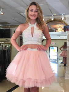 Two Piece Halter Tiered Homecoming Dresses Short Cocktail Dresses
