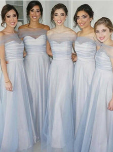 Blue Off Shoulder A Line Prom Dresses Inexpensive Bridesmaid Dresses - EVERISA