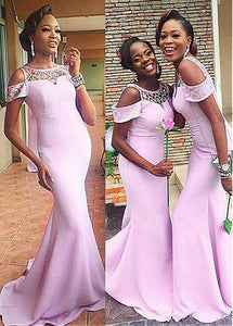 Scoop Neck Off Shoulder Mermaid Bridesmaid Dress Long Prom Dresses