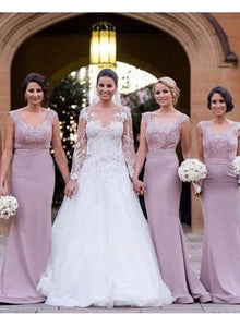 Sleeveless V Neck Slim Line Bridesmaid Dresses Affordable Prom Dresses - EVERISA