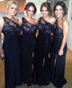 Sexy One Shoulder Side Slit Long Prom Dresses Affordable Bridesmaid Dresses - EVERISA