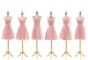 Different Style Pink Sleeveless Short Prom Dresses A Line Bridesmaid Dresses