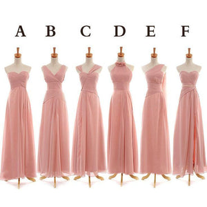 Different Style Pink Chiffon A Line Bridesmaid Dresses Long Prom Dresses - EVERISA