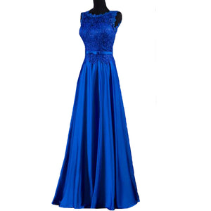 Royal Blue Sleeveless Lace Prom Dresses Scoop Neck A Line Evening Dresses
