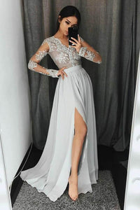 Elegant Gray V-Neck Long Sleeves Chiffon Prom Dress Long Evening Dress With Appliques