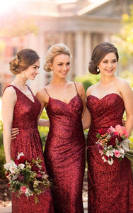 Fashion Burgundy V Neck Floor Length Sequin Evening Dress Prom Dresses with Sleeveless - EVERISA