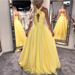 A Line Prom Dresses Halter Sleeveless Backless Best Evening Dresses