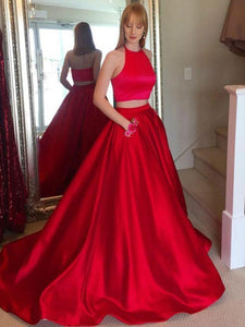 Simple Two Pieces Sleeveless A line Evening Dresses Long Prom Dresses - EVERISA