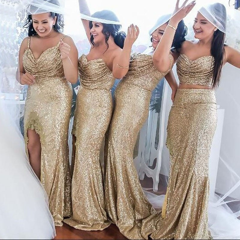 Sequin Bridesmaid Dresses Long Prom