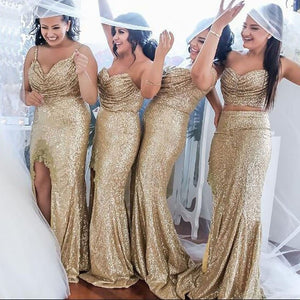 Fashion Gold Sweetheart Slit Sequin Bridesmaid Dresses Long Prom Dress - EVERISA
