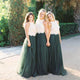 Unique Green Scoop Neck Long Tulle Prom Dresses Cheap Bridesmaid Dresses With Lace