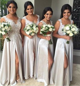 Elegant Light Grey Scoop Neck Satin Bridesmaid Dresses Long Prom Dresses - EVERISA