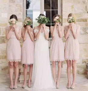 Fashion Different Styles Blush Pink Empire Lace Prom Dress Short Bridesmaid Dresses - EVERISA