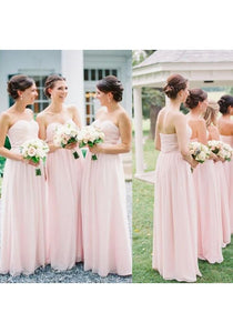 Elegant pink Sweetheart floor-length chiffon bridesmaides dresses  prom dresses - EVERISA